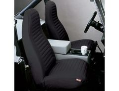 BESTOP Front High Back Bucket Seat Covers In Black Denim For 1976-91 Jeep Wrangler & CJ Series 29227-15