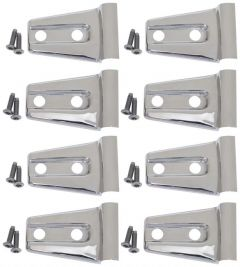 Kentrol Body Door Hinge Overlays in Polished Stainless Steel For 2007-18 Jeep Wrangler JKU 4 Door Models (8-Piece) 30021