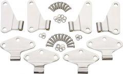 Kentrol Body Door Hinge Set Inner in Polished Stainless Steel For 2007-18 Jeep Wrangler JKU 4 Door Models (8-Piece) 30581