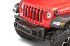 Go Rhino Rockline Front Bumper with Overrider Grille Guard for 07-20+ Jeep Wrangler JL, JK & Gladiator JT 331101T