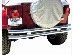 Rampage Rear Double Tube Bumper Without Hitch Stainless Steel For 1976-06 Jeep CJ Series, Wrangler YJ & TJ 8449