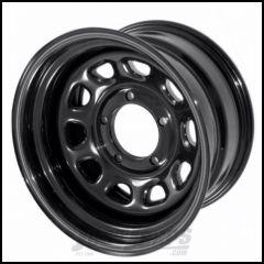 "Outland (Black) 15 X 10 D-Window Steel Wheel With 5"" X 4.5"" Bolt Pattern With 3.75"" Backspacing For 1987-06 Jeep Wrangler YJ & TJ Models & Cherokee XJ 391550002"