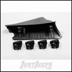 Outland Driver Side Dark (Grey) A-Pillar Switch Pod Kit For 2007-10 Jeep Wrangler JK 2 Door & Unlimited 4 Door Models With Four Rocker Switches 391723586