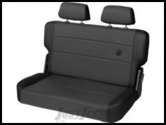 BESTOP TrailMax II Fold & Tumble Rear Bench Seat With Fabric Front In Black Denim For 1955-95 Jeep Wrangler YJ & CJ Series 39441-15