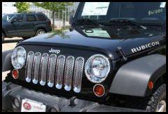 Putco Grille Trim Cover Chrome Plated ABS Plastic For 2007-18 Jeep Wrangler JK 2 Door & Unlimited 4 Door Models 400523