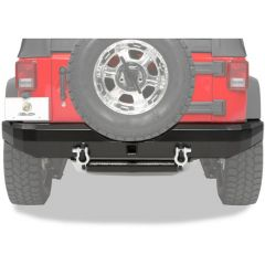 "BESTOP HighRock 4X4 Rear Bumper With 2"" Receiver Hitch & Departure Roller Mount In Black For 1987-06 Jeep Wrangler YJ & TJ/TLJ Unlimited Models 42903-01"