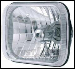 Rampage Headlight Conversion Single H4 With Cast Housing & Clear Glass Lens 200mm Rectangular For 1987-95 Jeep Wrangler YJ & 1984-01 Cherokee XJ (H4 55/60W Bulb Not Included) 5081127