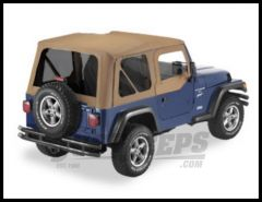 Pavement Ends Replay Replacement Top Dark Tan Denim With Tinted Windows For 1997-02 Jeep Wrangler TJ (Fits With Half Steel Doors) 51197-37
