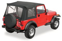 BESTOP Supertop With Clear Rear Windows In Black Denim For 1976-95 Jeep Wrangler YJ & CJ7 Fits With Factory Steel Doors 51599-15