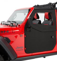 Bestop Front 2-Piece Fabric Doors For 2018+ Jeep Gladiator JT & Wrangler JL 2 Door & Unlimited 4 Door Models (Black Diamond) 51750-35