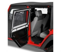 BESTOP HighRock 4X4 Element Rear Upper Doors For 2007-18 Jeep Wrangler JK Unlimited 4 Door Models (Black Twill) 51806-17