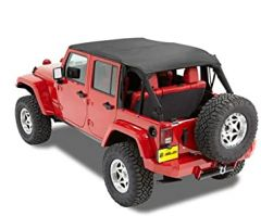 BESTOP Safari Bikini Top Cable Style In Black Diamond For 2010-18 Jeep Wrangler JK Unlimited 4 Door Models 52594-35