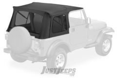 BESTOP Supertop With Tinted Rear Windows In Black Denim For 1976-95 Jeep Wrangler YJ & CJ7 Models With Factory Steel Doors 54599-15