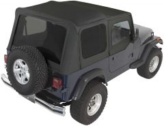Rampage Complete Soft Top Kit With Tinted Rear Windows In Black Denim For 1987-95 Jeep Wrangler YJ With Soft Upper Half Doors 68215