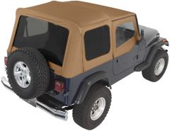Rampage Complete Soft Top Kit With Tinted Rear Windows In Spice Denim For 1988-95 Jeep Wrangler YJ With Soft Upper Half Doors 68217
