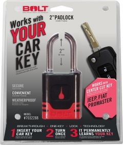 BOLT Ignition Key-alike Padlock For 2018+ Jeep Gladiator JT & Wrangler JL 2 Door & Unlimited 4 Door Models