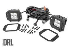 """Rough Country 2"""" Square Flush Mount Cree LED Lights Chrome Series With White DRL 70803DRL"""
