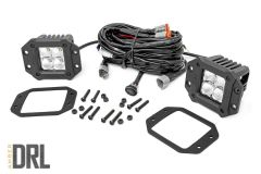"""Rough Country 2"""" Square Flush Mount Cree LED Lights Chrome Series With Amber DRL 70803DRLA"""