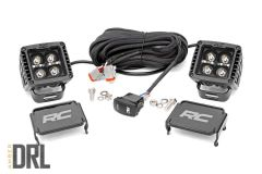 """Rough Country 2"""" Square Cree LED Lights Black Series With White DRL (Pair) 70903BLKDRL"""