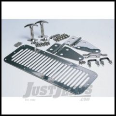 Rampage Hood Set In Stainless Steel For 1978-95 Jeep CJ Series & Wrangler YJ (Hood catches, hinges, vent, footman & windshield tie-down) 7499