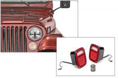 Quadratec Gen Stealth II LED Headlights & LED Tail Light Kit Stealth for 76-86 Jeep CJ-5 & CJ-7 97109CJST-