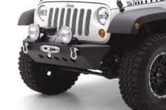 SmittyBilt SRC Classic Style Front Bumper With Winch Mount & D-Ring Mounts In Blk Textured For 2007-18 Jeep Wrangler JK 2 Door & Unlimited 4 Door Models 76743