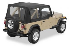 BESTOP Replace-A-Top With Door Skins & Clear Rear Windows In Black Sailcloth For 1988-95 Jeep Wrangler YJ Models 79120-01