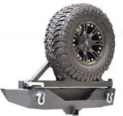 DV8 Offroad Rear Bumper with Tire Carrier (Black) For 2007-2018 Jeep Wrangler JK 2 Door & Unlimited 4 Door Models RBSTTB-01B