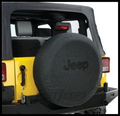 MOPAR Jeep Tire Cover in Black Denim with Black Jeep Logo 82209949AB