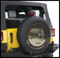"MOPAR Jeep Tire Cover in Black Denim with ""FUN is Standard. PAVEMENT is Optional"" 82210886AB"