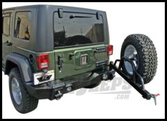 Rampage Rear Recovery Bumper With Swing Away Tire Carrier Textured Black For 2007-18 Jeep Wrangler JK 2 Door & Unlimited 4 Door (lights sold separately) 88606