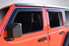 Auto Ventshade Low Profile Ventvisor Window Deflectors (4 Piece Kit) In Smoked Black For 2018+ Jeep Gladiator JT & Wrangler JL Unlimited 4 Door Models 894066