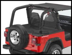 BESTOP Duster Deck Cover In Black Denim For 1992-95 Wrangler YJ With Factory Soft Top Bows Folded Down 90018-15