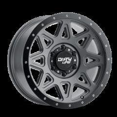 DirtyLife 9305 New Theory Wheel Matte GunMetal w/ Matte Black Lip 17x9 5X5 w/4.50BS 9305-7973MGT