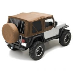 SmittyBilt OE Style Replacement Top With Half Door Uppers & Tinted Windows In Spice Denim (Rounded Corners) For 1997-06 Jeep Wrangler TJ 9970217