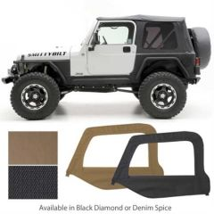 SmittyBilt OE Style Replacement Top With Half Door Uppers & Tinted Windows In Black Diamond (Rounded Corners) For 1997-06 Jeep Wrangler TJ 9970235