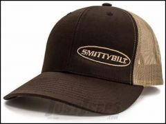 SmittyBilt Logo Snap Back Trucker Hat in Brown and Tan MK05HT0211OS