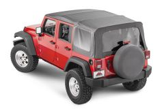 Crown Automotive Replacement Soft Top For 07-09 Wrangler JK Unlimited 4 Door w/ Full Steel Doors RT11035T