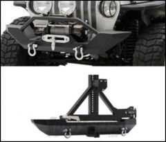 SmittyBilt Genuine Packages XRC Front and Rear Bumper with Tire Carrier in Black For 1997-06 Jeep Wrangler TJ & TLJ Unlimited Models ADDTJSPECIAL02