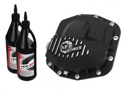 aFe Power Front Differential Cover in Black Finish w/ Gear Oil For 2018+ Jeep Gladiator JT & Wrangler JL Unlimited 4 Door Models (Dana 44) 46-71031B