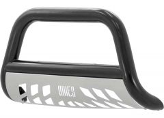 """Aries Automotive 3"""" Bull Bar Carbon Steel With Removable Brushed SS Skid Plate In Semigloss Black For 2005-07 Jeep Grand Cherokee WK & 2006-10 Jeep Commander B35-1001"""
