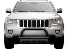 "Aries Automotive 3"" Bull Bar Carbon Steel With Removable Brushed SS Skid Plate In Semigloss Black For 2011+ Jeep Grand Cherokee WK2 Models B35-1003"