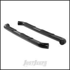 """Aries Automotive 3"""" Round Side Bars In Semi Gloss Black For 2007-18 Jeep Wrangler JK Unlimited 4 Door Models 35700"""