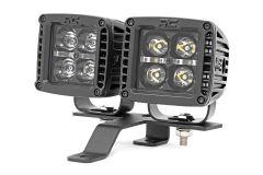"""Rough Country 2"""" Quad LED Light Pod Kit For 2018+ Jeep Gladiator JT & Wrangler JL 2 Door & Unlimited 4 Door Models 70822"""