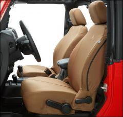 BESTOP Custom Tailored Front Seat Covers In Tan For 2007-12 Jeep Wrangler JK 2 Door & Unlimited 4 Door Models 29280-04