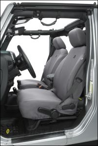 BESTOP Custom Tailored Front Seat Covers In Charcoal For 2013-18 Jeep Wrangler JK 2 Door & Unlimited 4 Door Models 29283-09