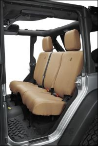 BESTOP Custom Tailored Rear Seat Covers In Tan For 2013-18 Jeep Wrangler JK Unlimited 4 Door Models 29284-04