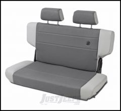 BESTOP TrailMax II Fold & Tumble Rear Bench Seat With Fabric Front In Grey Denim For 1997-06 Jeep Wrangler TJ 39439-09