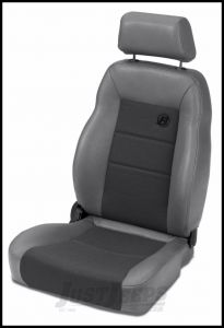 BESTOP TrailMax II Pro Front Reclining Passenger Seat With Fabric Front In Grey Denim For 1976-06 Jeep CJ Series, Wrangler YJ & Wrangler TJ Models 39460-09