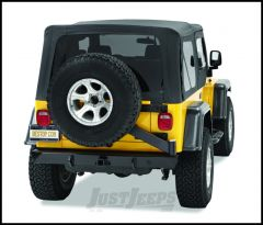 BESTOP HighRock 4X4 Rear Bumper With Tire Carrier & D-Ring Mounts In Satin/Flat Black For 1997-06 Jeep Wrangler TJ & TLJ Unlimited 42931-01